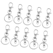 Jili Online 10 Pieces Silver Colour Lobster Clasp Key Hook Chain Jewellery Making For Keychain Key Ring Accessories DIY