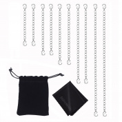 Sunmns Slender Stainless Steel Necklace Bracelet Extender Chain Set, 10 Pieces (Silvery