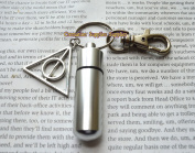 Deathly Hallows Silver Secret Stash Cylinder Necklace - Deathly Hallows Cremation keychain - Vial keychain Jewellery,Bereavement Gift, Cremation Jewellery