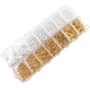 Dcatcher 2900 Pcs Open Jump Rings 3mm 4mm 5mm 6mm 7mm 8mm 10mm Box Set for DIY Jewellery Making Findings, Silver and Gold