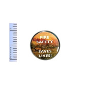 Fire Safety Button Fire Safety Saves Lives Pin Campfire Forest Safety Pinback 2.5cm