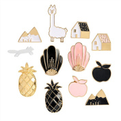 Cartoon Alpaca Pineapple House Enamel Brooch Pin Lapel Pins Set for Women Girls Clothing Bag Ornament