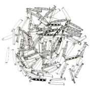 KeyZone 100 Pieces Silver Tone 3.2cm Locking Pin Backs Clasp Brooch for Badge Crafts, Jewellery Crafting