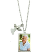 Memorial Angel Photo Necklace With Slide In Picture Frame Charm Includes Photo Resizing Software!