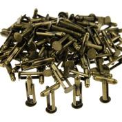 50 Pairs DIY Flat round Cufflink Antique Bronze Cuff Links 8mm x 27mm