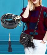 Purse Strap Replacement - Microfibric Leather Crossbody Adjustable (2cm Wide and 33cm - 130cm Long) for Handbag / Bag, Black - by Beaulegan