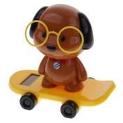 MonkeyJack New Cute Solar Powered Skateboard Shaking Head Glasses Dog Doll Car/Home Ornament Kids Toy Gift Yellow