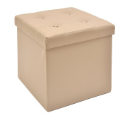 The FHE Group Tufted Folding Storage Ottoman, 15 by 38cm by 38cm , Taupe Faux Leather