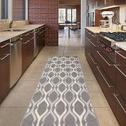 "Diagona Designs Contemporary Moroccan Trellis Design Non-Slip Runner Area Rug, 50cm W x 59"" L, Dark Grey / Ivory / Grey"
