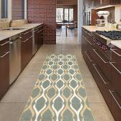 "Diagona Designs Contemporary Moroccan Trellis Design Non-Slip Runner Area Rug, 80cm W x 118"" L, Teal / Ivory / Beige"
