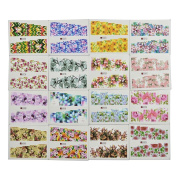 HuntGold 50 Sheets Colourful Floral Nail Art Stickers Nail Decals Manicure Water Transfer