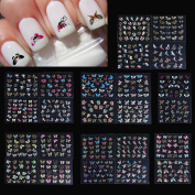 Niceskin 3D Butterfly Style Nail stickers DIY Tips Decorations Tool, 24 Sheets/Set
