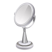 Terresa Double-Sided Makeup Mirror with 1X/10X Magnifying - 360 Degree Swivel Round Tabletop Vanity Mirror - Bathroom Mirror for Beauty Cosmetic