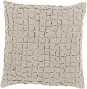 50cm Elegantly Tufted Dove Grey Decorative Throw Pillow Accented with Faux Pearls