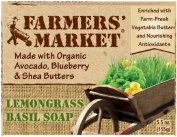 Farmer's Market Lemongrass & Basil Bar Soap 156 g by Farmers Market