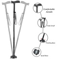MediCane Adjustable Folding Self Balancing Travel Cane With Pivoting Wide Quad Foot Base