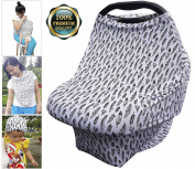 Carseat Canopy-Boys or Girls| Nursing Cover-Breastfeeding Moms| Shopping Cart Cover-Protecting Infants and Toddlers| High Chair Cover-Baby Shower Gift| Infinity Scarf-Strong & Durable