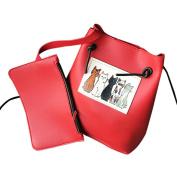 AuroraxGirls Cute Cat Handle Handbag Leather Purse Crossbody Shoulder Bag
