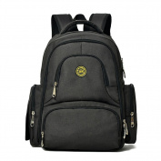 Large Nappy Bag, Multi-Pockets Baby Backpack/Stroller Straps/Changing Pad/Insulated Bottle Bag for Moms & Dads Black
