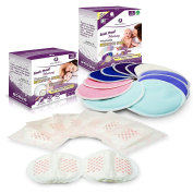 Leak Proof Mommy Bundle | Washable & Disposable Nursing Pads Kit for every situation, whether at home or on the go| Organic Bamboo Reusable Pads (12 pack) + Disposable Ultra Absorbent Pads