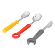 3pcs Wrench Screwdriver Silicone Stainless Steel Fork Spoon Knife Tableware