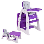 Costzon 3 in 1 Baby High Chair Desk Convertible Play Table Conversion Seat Booster, Purple