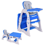 Costzon 3 in 1 Baby High Chair Desk Convertible Play Table Conversion Seat Booster, Blue