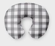 AllTot Nursing Pillow Cover in Grey Buffalo Plaid