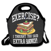 No Exercise Extra Sandwich Multifunctional Lunch Tote Bag Carry Box