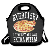 No Exercise Extra Pizza Multifunctional Lunch Tote Bag Carry Box