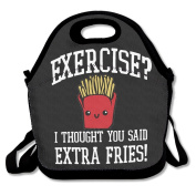 No Exercise Extra Fries Multifunctional Lunch Tote Bag Carry Box