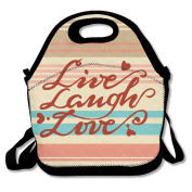 Live Laugh Love Red Heart Multifunctional Lunch Tote Bag Carry Box