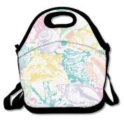 Seashells Coral Abstract Background Multifunctional Lunch Tote Bag Carry Box