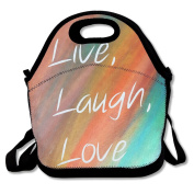 Live Laugh Love Rainbow Multifunctional Lunch Tote Bag Carry Box