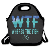 Funny Wheres The Fish Multifunctional Lunch Tote Bag Carry Box