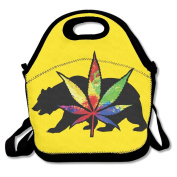 Trippy Weed Leaf Bear Multifunctional Lunch Tote Bag Carry Box