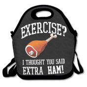No Exercise Extra Ham Multifunctional Lunch Tote Bag Carry Box