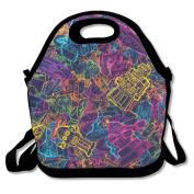 Colourful Robots Funny Multifunctional Lunch Tote Bag Carry Box