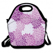 Floral Dahlia Purple Background Multifunctional Lunch Tote Bag Carry Box