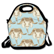 Cartoon Goat Head Seamless Multifunctional Lunch Tote Bag Carry Box
