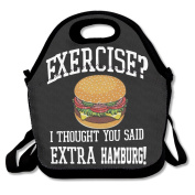 No Exercise Extra Humburg Multifunctional Lunch Tote Bag Carry Box