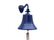 Brass Hanging Ship's Bell 23cm - Blue Power Coated - Ship Bell - Nautical Bell