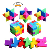 Toy Puzzle Erasers Colourful Pencil Erasers Cube and Rhombus for School Party Games 6pcs