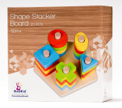 BooKid Durable and Colourful Wooden Shape Sorter and Colour Sorter Toy for Toddlers - Includes Five Geometric Shapes in Different Colours on a Pentagon Shaped Wooden Base
