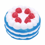 FEESHOW 12cm Jumbo Slow Rising Scented Squishy Strawberry Cake Squeeze Toy Blue one size