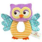 KINGSEVEN Shake It Baby! Activity Baby Rattle,O-Shaped Soft Plush Owl Toy, Handle Toys Educational Toy
