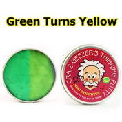 Dulcii Slime Cotton Mud Colour Changing Stress Relief Plasticine Modelling Clay, Fluffy Floam Toys Scented Stress Relief No Borax Kids Toy Sludge Toy, Green Turns Yellow