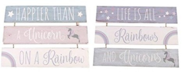 "3 Tier Wooden Unicorn Hanging Plaque "" Happier Than A Unicorn On A Rainbow"""