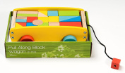 BooKid Durable and Colourful Wooden Blocks Waggon Toy for Toddlers -Includes 20 Blocks for Stacking, Sorting, Counting, and Building