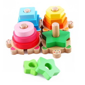 Qiyun Parent-child Game 4 Column Set Wooden Toys for Kids Baby Geometry Matching Wooden Building Blocks Developmental Toys